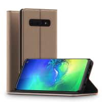 Flipcase Samsung Galaxy S10 (SM-G973F) Leather gouden Book Case Portemonnee Hoesje Flip Hoesje Book Cover Flip Wallet met Kaarthouder