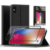 Case + Screen protector for iPhone X - PU Leather, Black