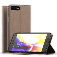 Flip Cover pour iPhone 8 Plus / iPhone 7 Plus - Cuir PU, d'or Housse Pochette