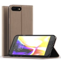 Apple iPhone 8 Plus / iPhone 7 Plus Case Cover Wallet Case Flip Case Phone Cover Shockproof Flip Cover Golden PU Leather