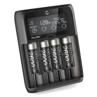 CELLONIC® 4x AA 2600mAh + USB Battery Charger for rechargeable AA, AAA Lithium and LiFePo4 Batteries with 4 Charging Slots - USB fast charger LR03 LR6 18650 14500 26650