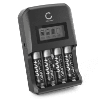 CELLONIC Battery Charger + 4x AAA 1000mAh rechargeable, Battery Fast Charger for 9V, AA and AAA Batteries (NiMH) with 4 Charging Slots