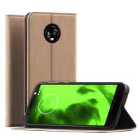 Handytasche Motorola Moto G6 PU Leder gold Hülle Flip Case Tasche Klapphülle Book Case Etui Wallet mit Kartenfach