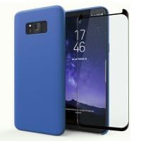Cover a libro + Vetro protettivo di schermo per Samsung Galaxy S8 Plus (SM-G955 / SM-G955F) - Silicone, blu scuro Custodia, Borsa, Guscio