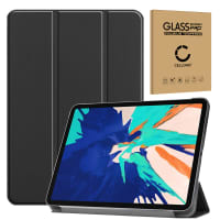 Smart Case + Screen protector glass for Apple iPad 12,9 (2020) - A2229, A2233 - synthetic Leather, Black Case