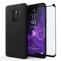 Etui + Protection d'écran en verre pour Samsung Galaxy S9 Plus (SM-G965) - Silicone, noir Etui,Housse, Coque, Pochette