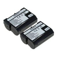 2x Akku für Nikon D7200, D500, D750, D600, D610, D7000, D7100, D800, MB-D12, 1 V1 (1600mAh) EN-EL15