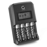 CELLONIC Battery Charger + 4x AA 2600mAh rechargeable, Battery Fast Charger for 9V AA and AAA Batteries (NiMH) with 4 Charging Slots