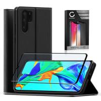 Etui + Protection d'écran en verre pour Huawei P30 Pro - Cuir PU, noir Etui,Housse, Coque, Pochette