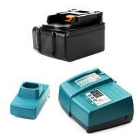 Batería 14.4V, 3Ah, Li-Ion + Cargador para Makita BHP442, DMR107, DTW280, BTP131 - BL1415, BL1430, BL1440, BL1450 batería de Reemplazo