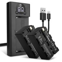 Set de 2 Batteries de remplacement 4400mAh et double chargeur pour Sony NX100 NX5 HXR-MC2500 MC2000 VX2100 VX2000 HDR-FX1 FX7 DSR-PD170 PD150 TRV900 - remplacement de NP-F970 NP-F960 NP-F570 NP-F770