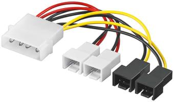 PC Lüfter Stromkabel/Stromadapter - 2x 2-pol. 12 V + 2x 2-pol. 5 V