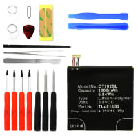 Battery for Alcatel One Touch Idol (6030 / 6030D) incl. Tool-kit - TLp018B2, TLp018B1 (1800mAh) Replacement battery