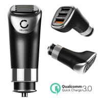 USB Car Charger (12V / 24V) for Smartphone, eReader Tablet & Co. (1x Quick Charge 3.0 3A / 2x Smart USB 5V, 2,4A) USB Adapter