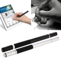 2x 2in1 Design TouchPin for Smartphone, eReader Tablet & Co. inkl. Ballpointpen / sølv, svart