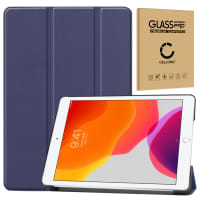 Case + Screen protector glass for Apple iPad 10.2 2019 (7th Gen) - synthetic Leather, Dark Blue Case