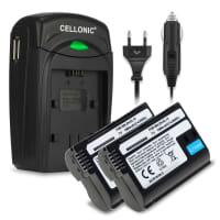 2x Batteri for Nikon D7200 D7000 1 V1 D800 D800E D600 D7100, Nikon Z 6 Z 7 - EN-EL15 1900mAh inkl. Lader MH-25 reservebatteri