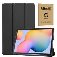 Smart Case + Screen protector glass for Samsung Galaxy Tab S6 Lite (SM-P610 / SM-P615) - synthetic Leather, Black Case