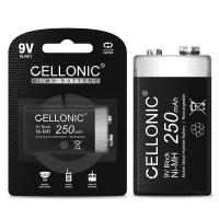 Cellonic® 9V Battery - 250mAh - pre-charged and long life - 1x 9V / E Block / 6F22 / 6LR61 / AM-61 NiMH 1.2V Cellonic