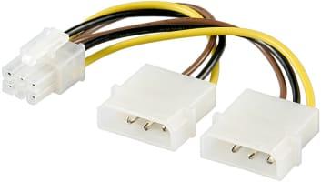 PC Grafikkarten Stromkabel/Stromadapter - 2x Molex-Stecker (4-Pin) > PCIe-Buchse (6-Pin)