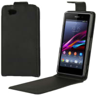 Flip Cover for Sony Xperia Z1 Compact - Artificial leather, black Case