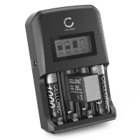CELLONIC Battery Charger + 9V 250mAh - pre-charged and long life for AA and AAA Batteries (NiMH) with 4 Charging Slots | Battery Charger, Overcharge Protection