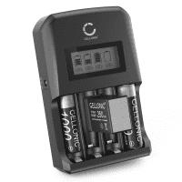 Chargeur de piles + 9V 250mAh - préchargées, durables pour AA et AAA (NiMH) en CELLONIC, 4 compartiments | Rechargeables intelligent, Protection contre la surcharge