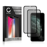 2x Privacy Screen protector glass Apple iPhone 11 (3D Case-friendly, 9H, 0,33mm, Full Glue) Tempered Glass
