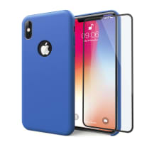 Case + Screen protector for iPhone X - Silicone, Dark Blue