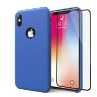 Hoesje + Displaybeschermglas voor iPhone X - Siliconen, donkerblauw