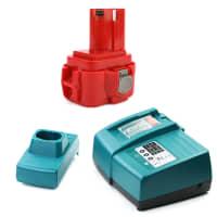 Batteria 9.6V, 3Ah, NiMH + Caricabatteria per Makita 6203D / 6204D / 6207D / 6222D / 6226D - 9100, 9120 batteria di ricambio