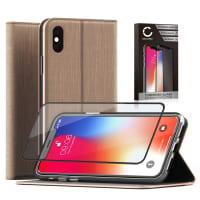 Case + Screen protector glass for iPhone X - PU Leather, Golden