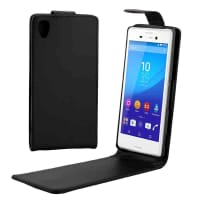 Flip Cover for Sony Xperia M4 Aqua (E2303 / E2306) - Artificial leather, black Case