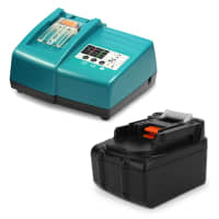 Battery 14.4V, 4Ah, Li-Ion + Charger for Makita BBO140, DMR105, ML144 - BL1415, BL1430, BL1440, BL1450 replacement battery