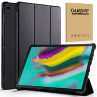 Case + Screen protector glass for Samsung Galaxy Tab S5e 2019 (SM-T720 / SM-T725) - Artificial leather, Black Case