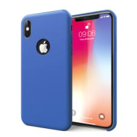 Case Apple iPhone X Cover Backcover Dark Blue Silicone
