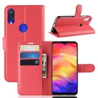 Telefoon doos voor Xiaomi Redmi Note 7 Global - PU Leather, rood Tasje, Zakje, Zak, Hoesje