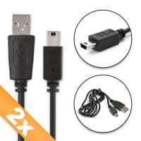 2x Cable de datos para Sony PSP-1000 / PSP-2000 / PSP-3000 / PSP-E1000 - 1m Cable USB Cable Data, negro
