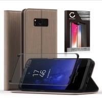 Flipcase + Displaybeschermglas voor Samsung Galaxy S8 (SM-G950 / SM-G950F) - PU Leather, gouden Tasje, Zakje, Zak, Hoesje