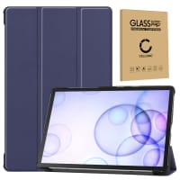 Case + Screen protector glass for Samsung Galaxy Tab S6 (SM-T860 / SM-T865) - synthetic Leather, Dark Blue Case