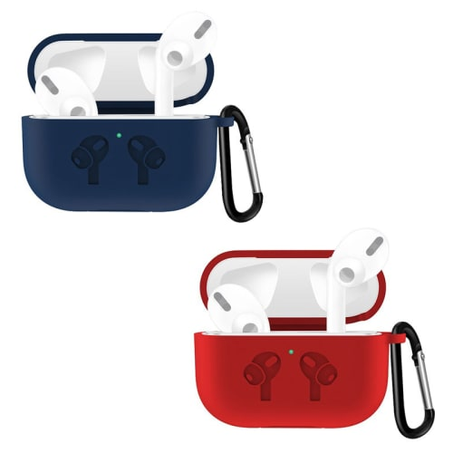 2x Étui pour Apple AirPods Pro (bleu, rouge) - Silicone, Housse Pochette