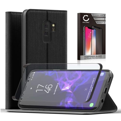 Handytasche + Panzerglas für Samsung Galaxy S8 Plus (SM-G955 / SM-G955F) - PU Leder, schwarz Tasche, Case, Etui, Hülle