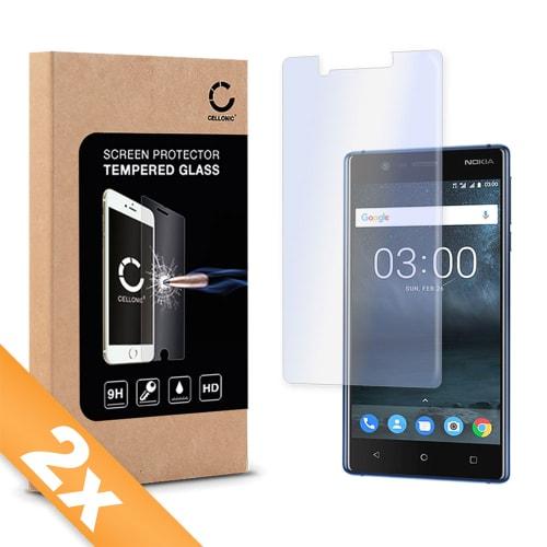 2x Protection d'écran en verre Nokia 3 (2017) (2.5D, 9H, 0,33mm, Edge Glue) Verre trempé