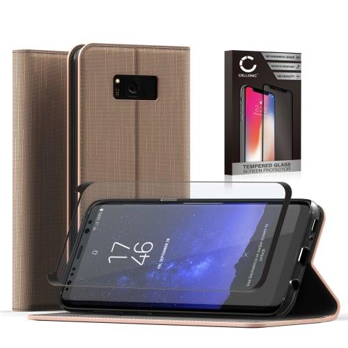 Handytasche + Panzerglas für Samsung Galaxy S8 Plus (SM-G955 / SM-G955F) - PU Leder, gold Tasche, Case, Etui, Hülle