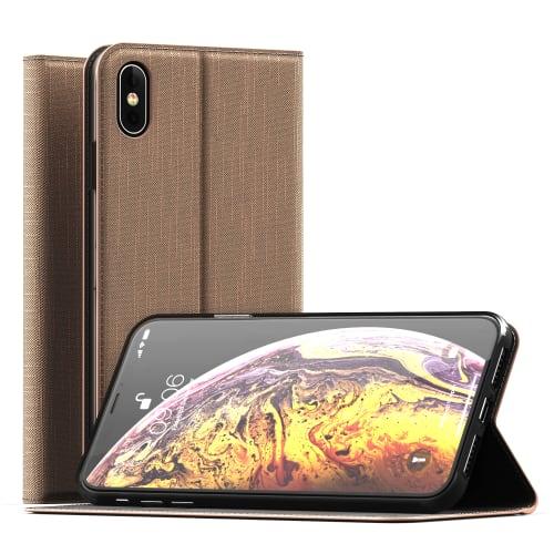 Flipcase Apple iPhone Xs Max PU Leather gouden Book Case Portemonnee Hoesje Flip Hoesje Book Cover Flip Wallet met Kaarthouder
