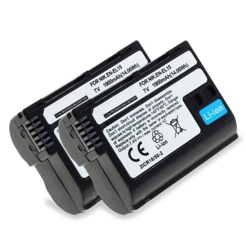 2x Batería para Nikon 1 V1, Nikon D500, Nikon D600 D610, Nikon D7000 D7100 D7200 D750 D7500, Nikon D800 D800E D810 D810A D810E D850 - EN-EL15,ENEL15a 1900mAh Batería de Reemplazo