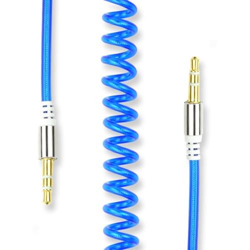 Câble Auxiliaire de 3.5mm Câble Jack Audio en Spirale, Bleu, 1.8m   Câble Bouclé Jack To Jack