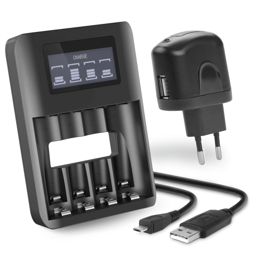 CELLONIC® USB Battery Charger for AA and AAA batteries + USB charging adapter, Batterycharger with 4 Charging Slots and Display, USB Charger for rechargeable batteries