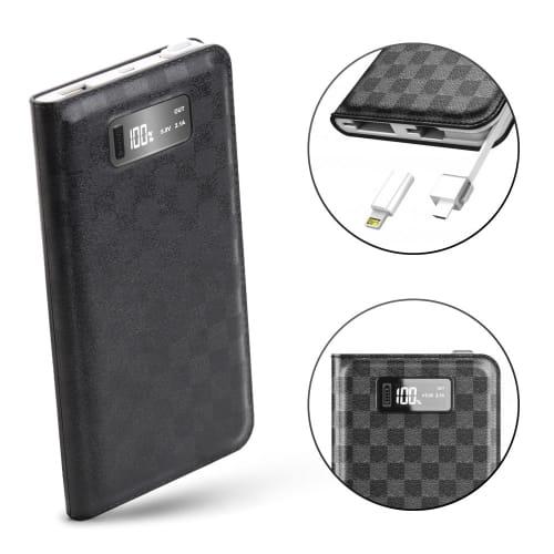 Powerbank mit 10000mAh | 2 Ports USB-A, microUSB Kabel, MFI Lightning Adapter für iPhone, iPod, iPad