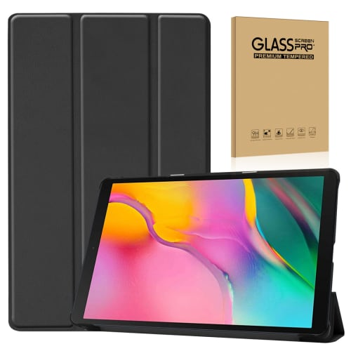 Case + Screen protector glass for Samsung Galaxy Tab A 10.1 2019 (SM-T510 / SM-T515) - Artificial leather, Black Case